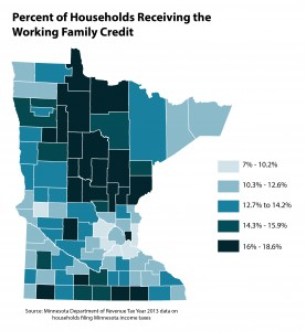 Map percent of households receiving the Working Family Credit
