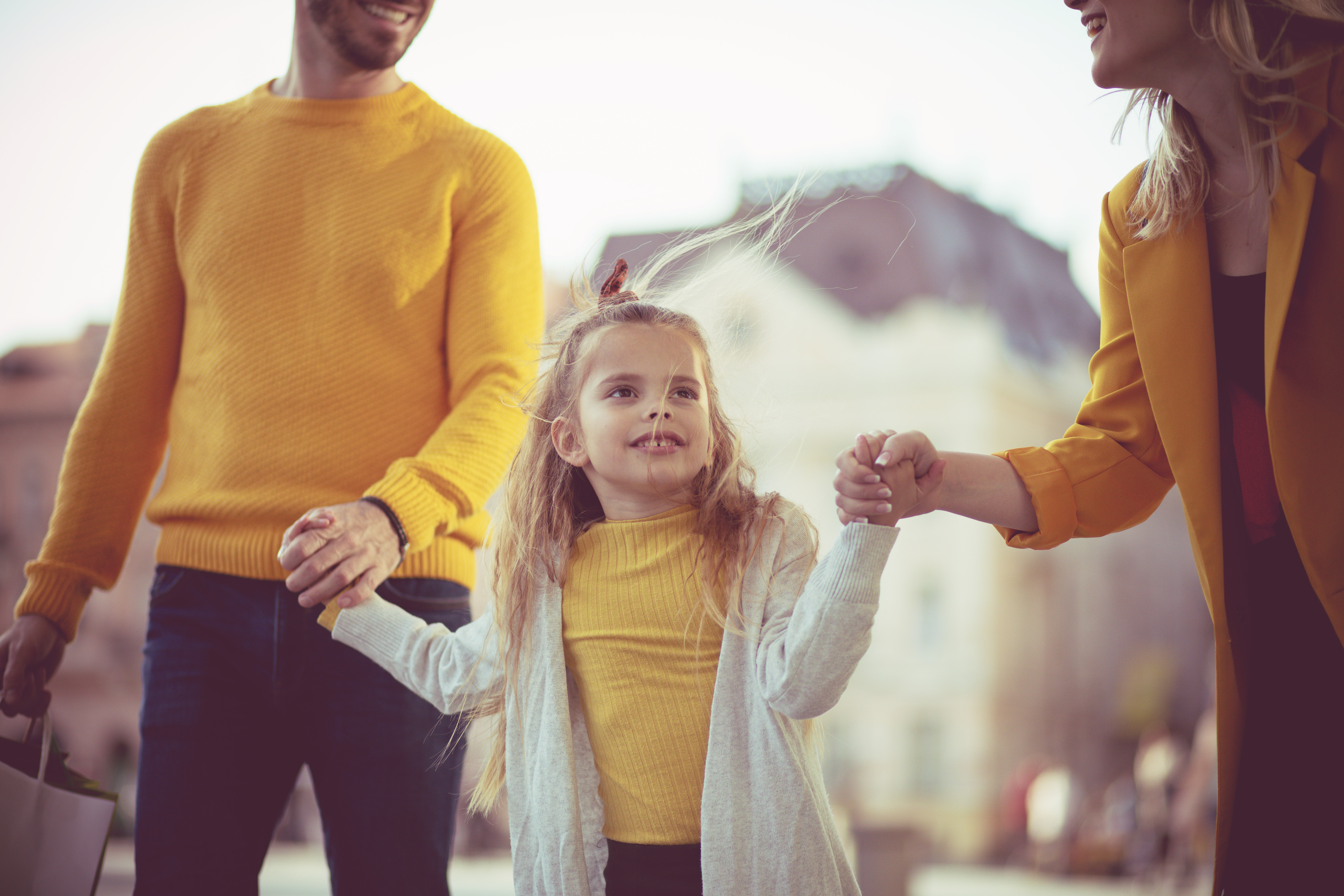 Family in yellow