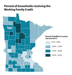 Map percent of households receiving the Working Family Credit by county